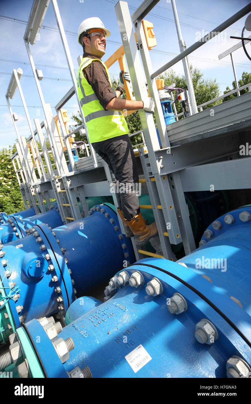 waste water workers at sewage plant - Stock Image