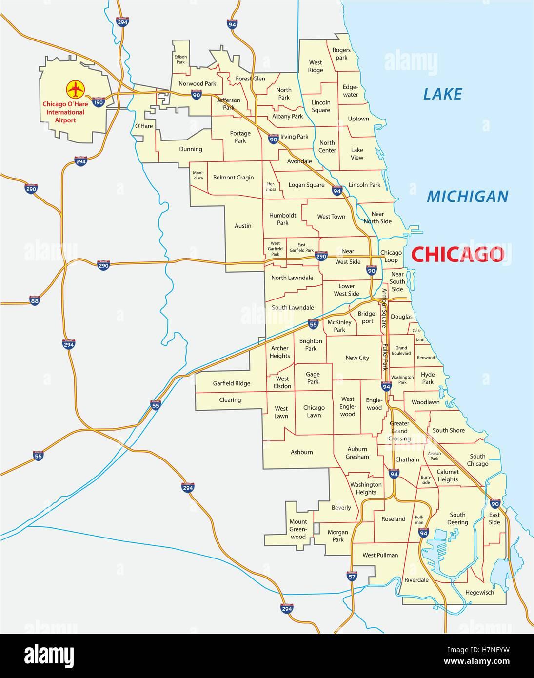 chicago community areas map Stock Vector Art Illustration Vector