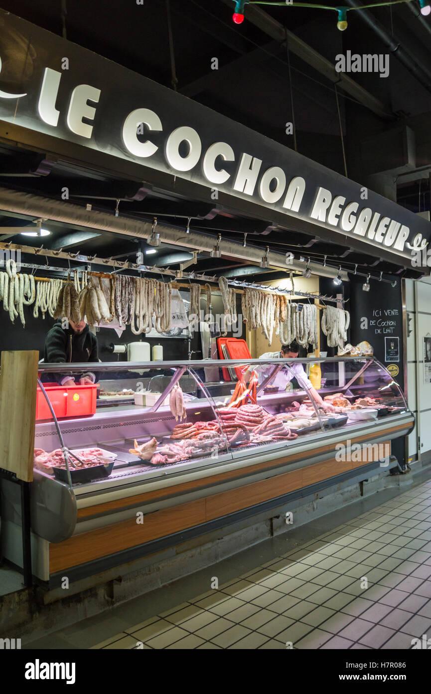 """Cochon Regaleur"" pork and charcuterie counter, Marché Victor Hugo, French market,Toulouse, Haute-Garonne, Occitanie, Stock Photo"