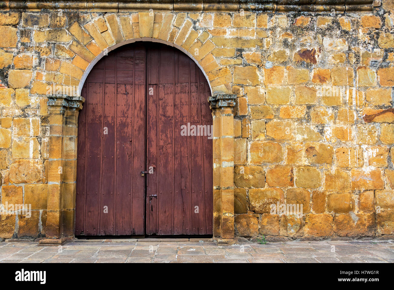 Entrance to San Roque chapel in the small town of Valle de San Jose, Colombia - Stock Image