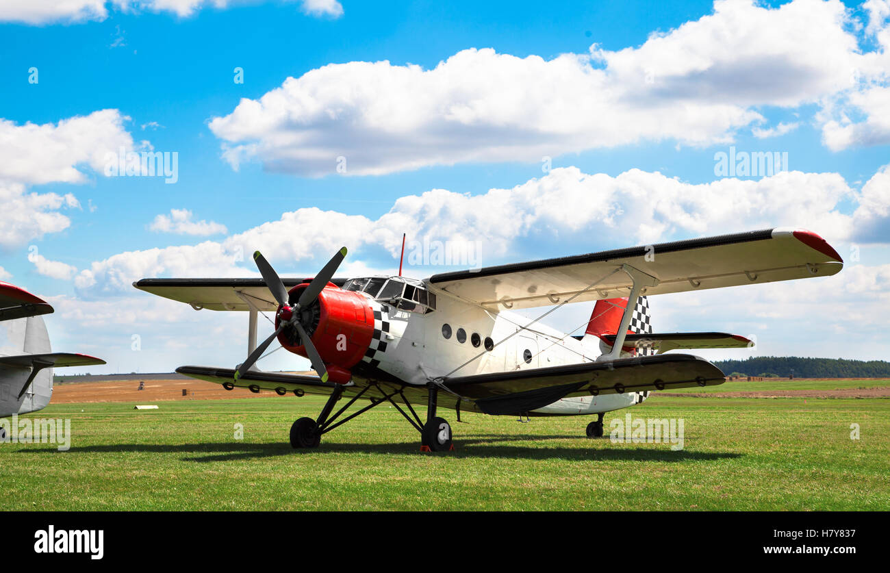 GERA, GERMANY - AUGUST 13, 2016: Old classic Antonov An-2 aircraft at an European AN-2 Meeting 2016, AUGUST, 13 - Stock Image
