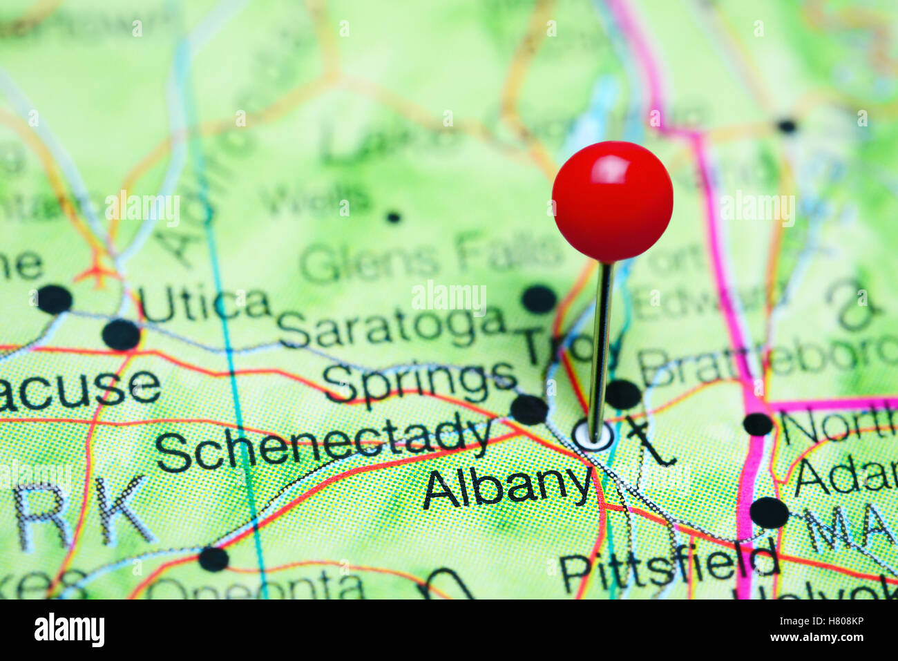 Albany pinned on a map of New York state, USA Stock Photo: 125396650 on religion map of usa, guam map of usa, jamaica map of usa, rhode island, washington dc map of usa, new york city, new jersey, north carolina, united states of america, las vegas map of usa, los angeles, new england map of usa, hudson river map of usa, statue of liberty, niagara falls map of usa,