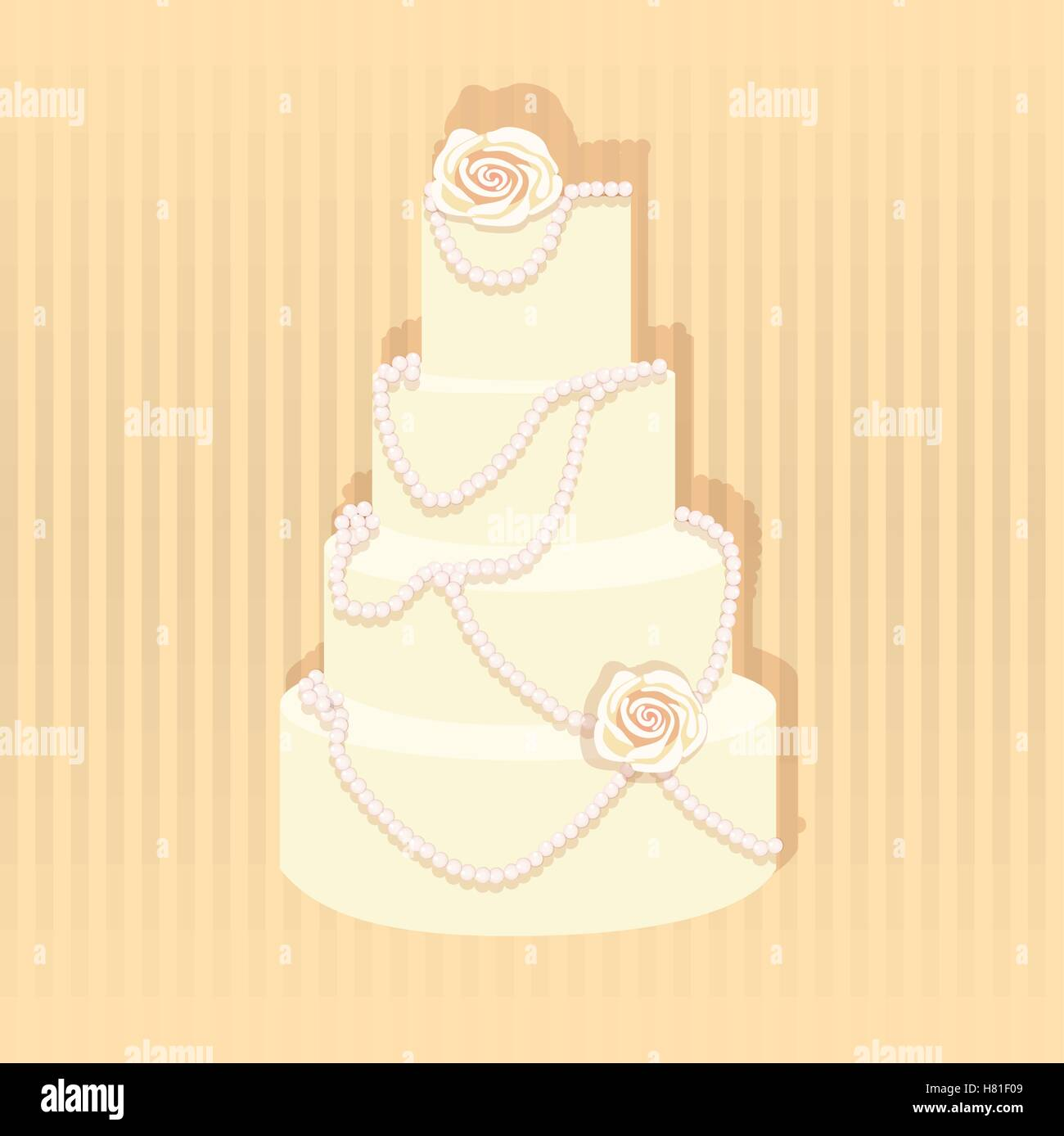 Wedding cake. A stylish wedding cake decorated with pearls ans roses ...