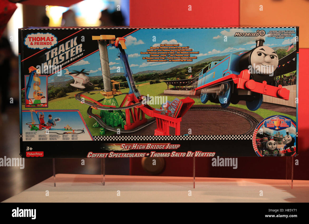 3942a73eb7a62f Thomas and Friends Trackmaster Sky-High Bridge Jump on display at the  DreamToys 2016 event held at St Mary's Church, Marylebone, London.