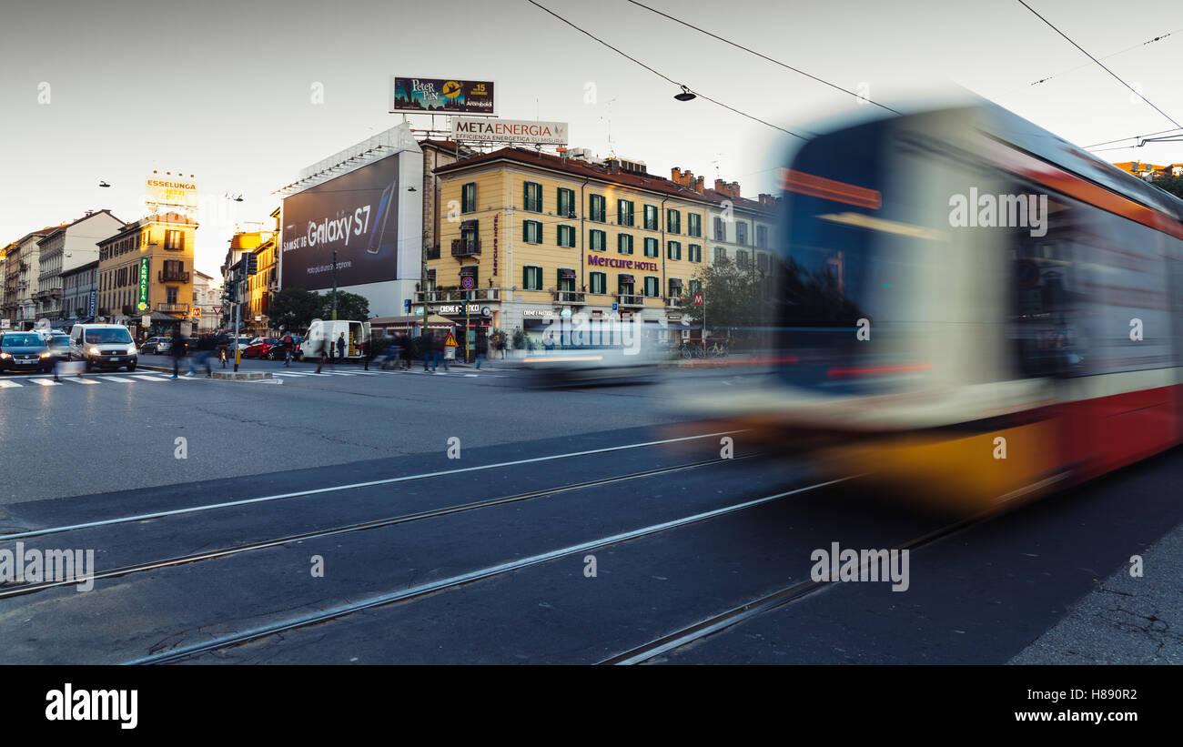 A street view of Corso Buenos Aires (Porta Venezia) in Milan, Italy.Stock Photo