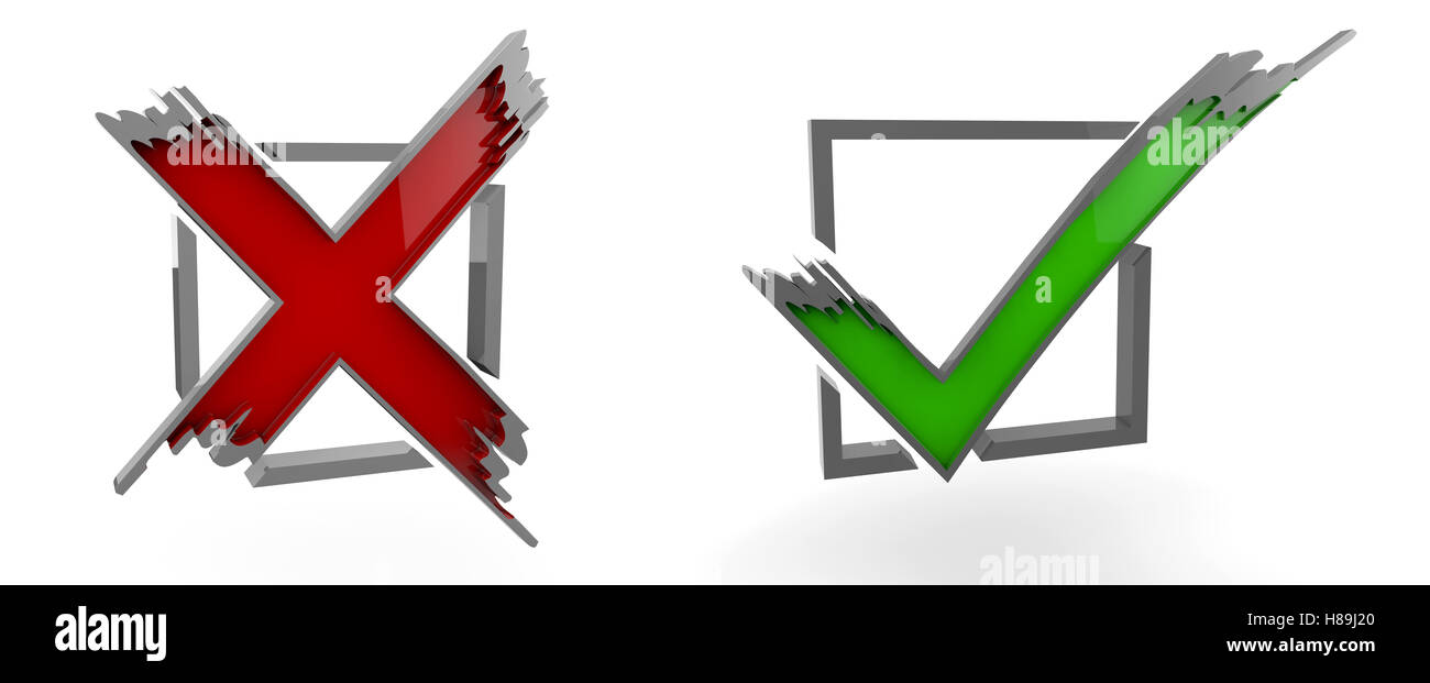 3d Illustration Of Check Mark Yes No Graphic Symbol Stock Photo