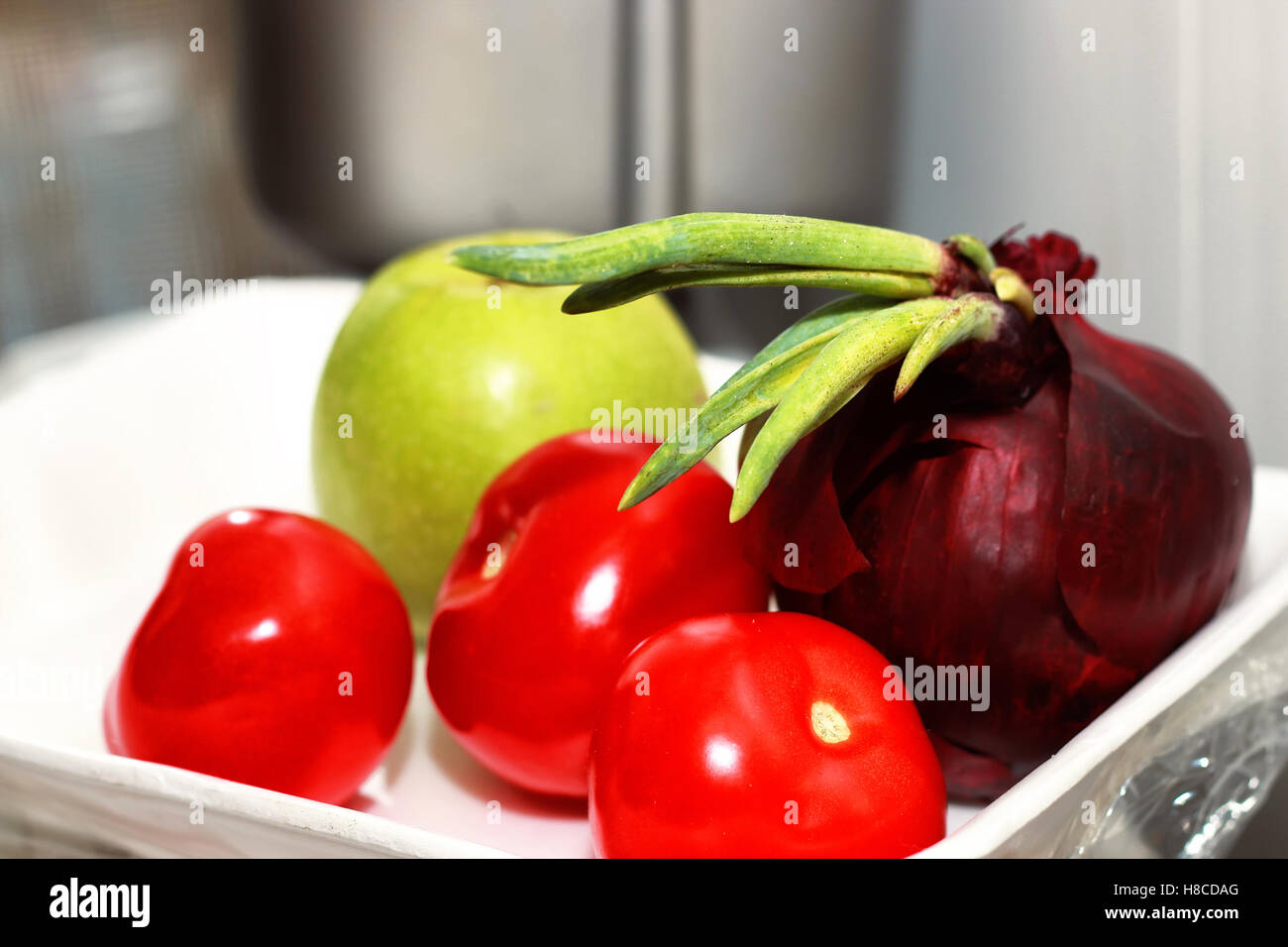 red tomato and onion - Stock Image