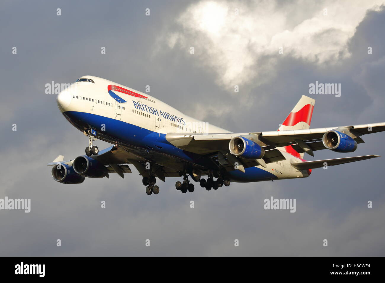 British Airways Boeing 747-400 G-BNLN landing at London Heathrow Airport, UK Stock Photo