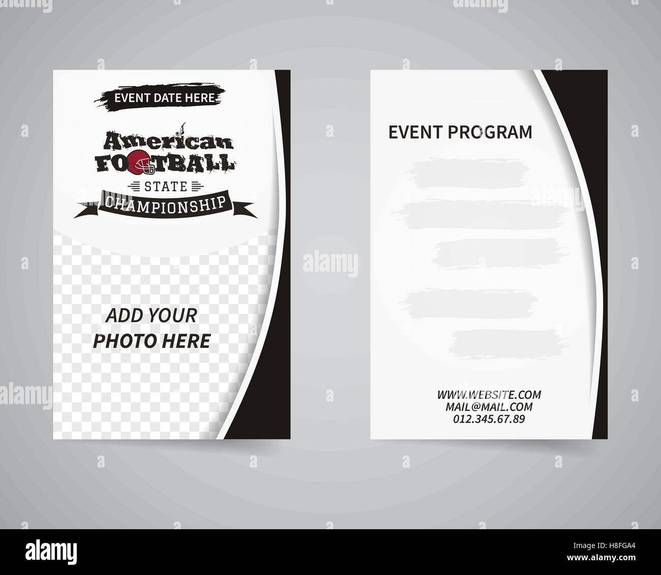 American football back and front flyer template design. Usa Sport ...