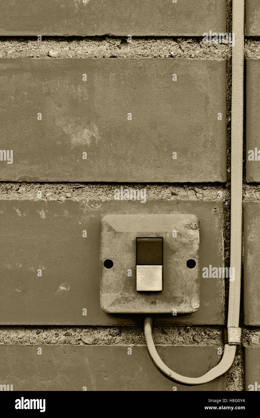 Outdoor Electric Equipment Control Industrial Button Switch Wire The Wires From Old Depending On Type Of Cable Closeup Aged Weathered Grungy Brick Wall Background