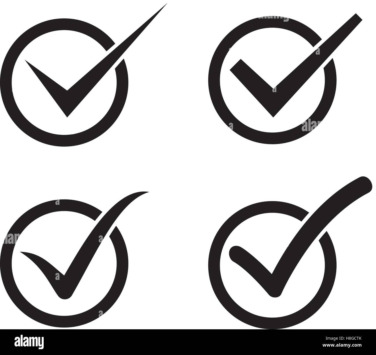 Set Of Check Mark Check Box Icons Stock Vector Art Illustration