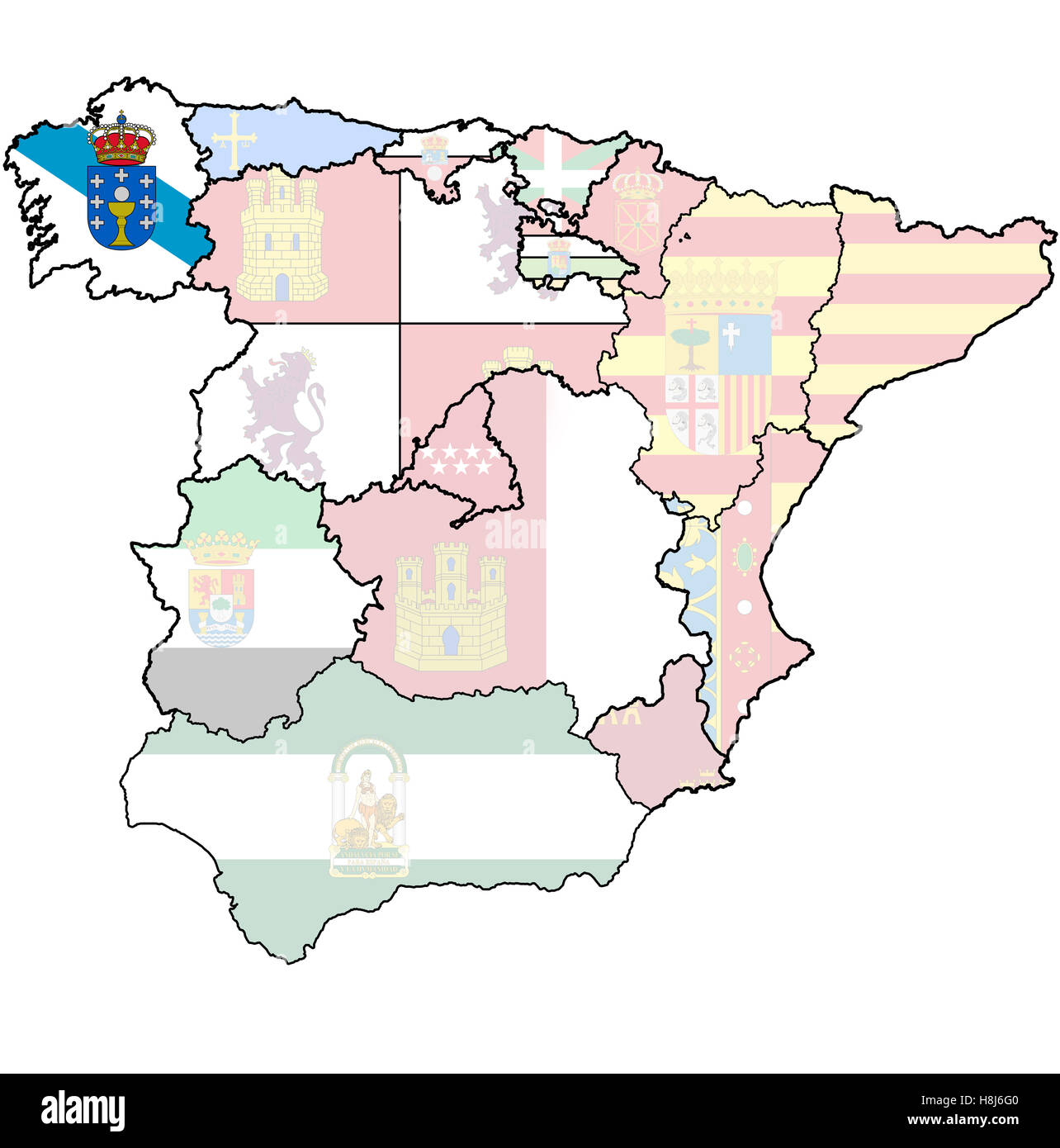 galicia region on administration map of regions of spain with flags