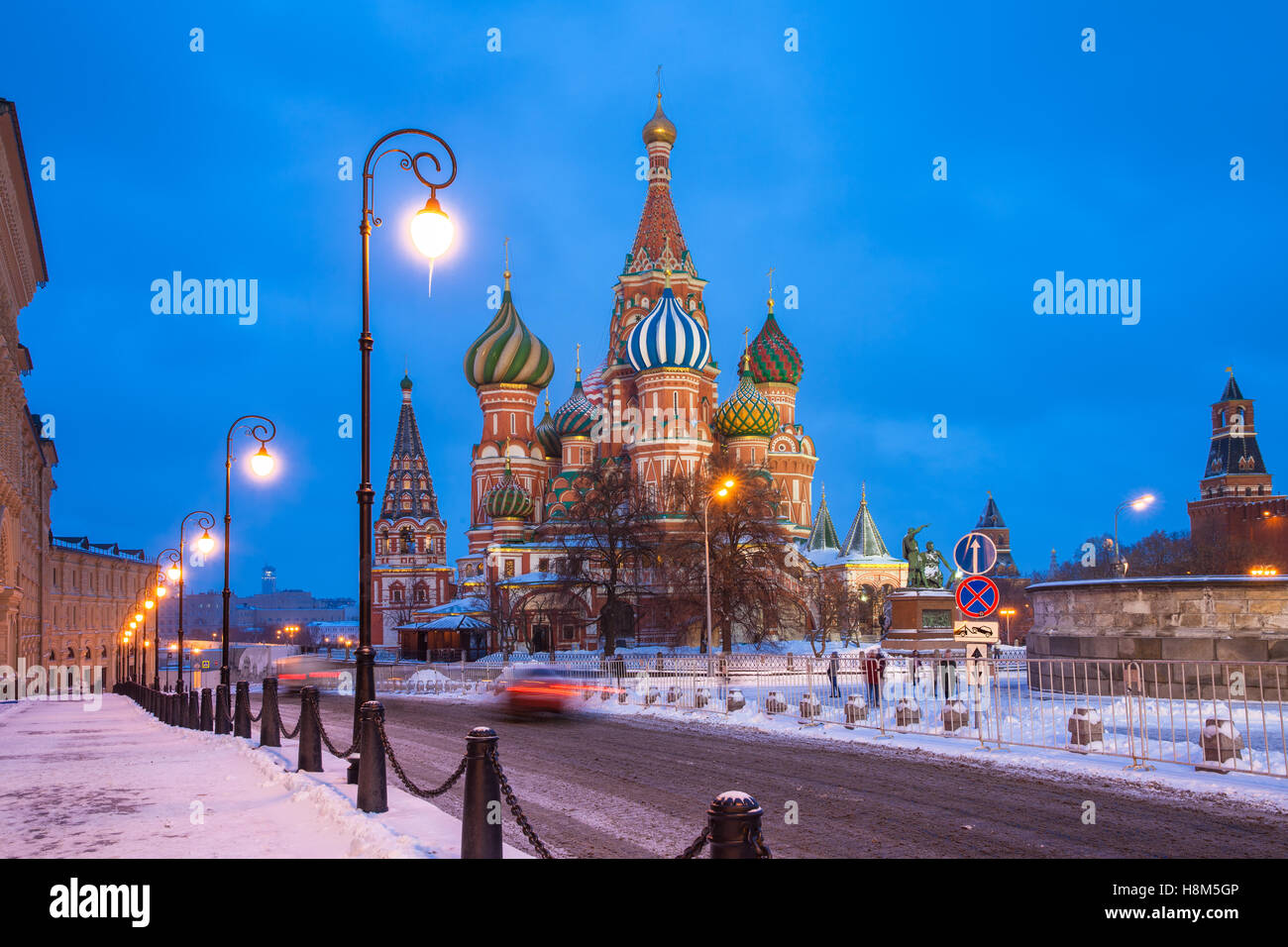 Dusk view of St. Basils Cathedral in winter, Red Square, Moscow, Russia - Stock Image