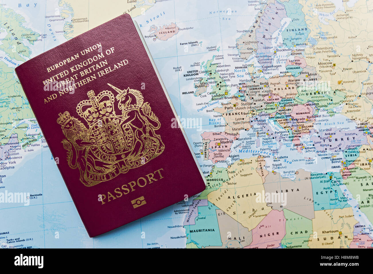 British passport of the european union on a world map with emphasis british passport of the european union on a world map with emphasis on europe publicscrutiny Choice Image