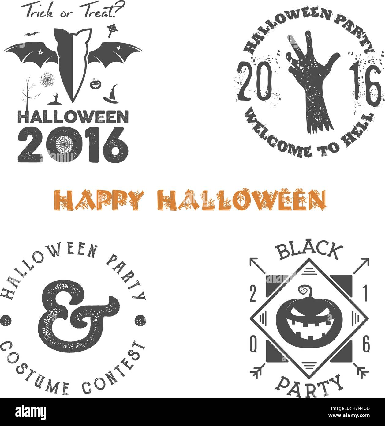 Halloween 2016 party label templates with scary symbols - zombie ...
