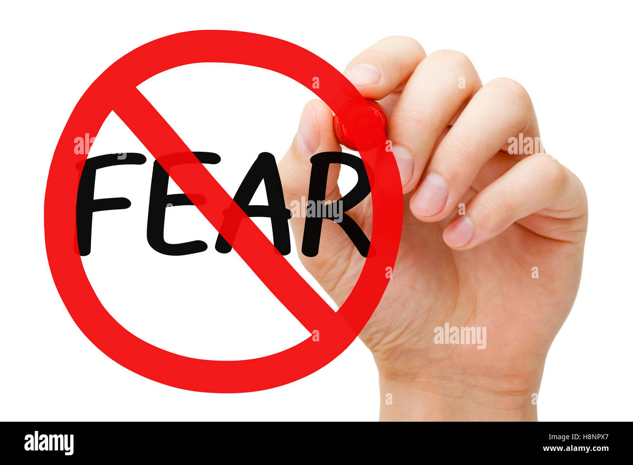 Hand drawing Fear prohibition sign concept with marker on transparent wipe board. - Stock Image