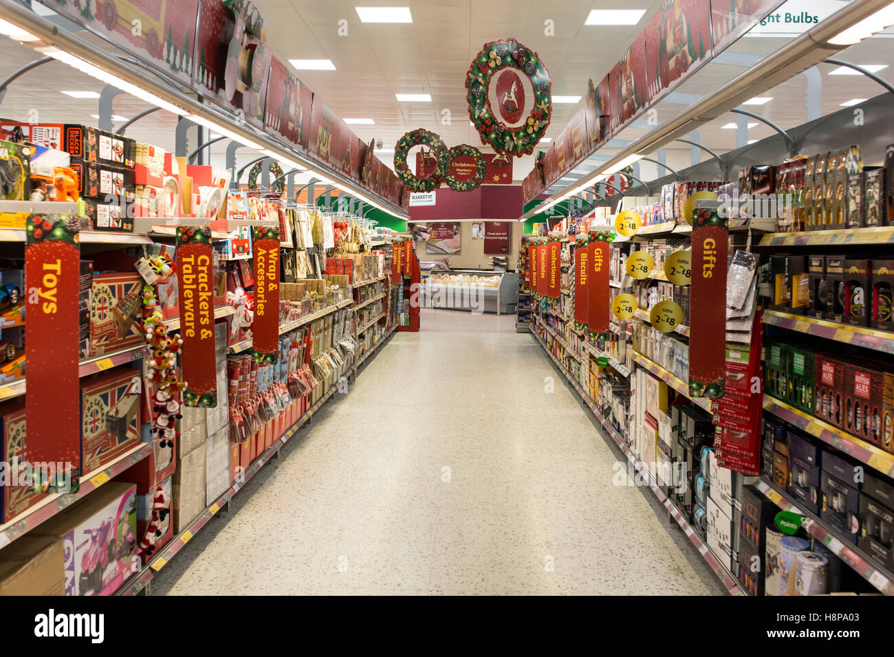 inside a British Morrisons supermarket store. Christmas aisleStock Photo