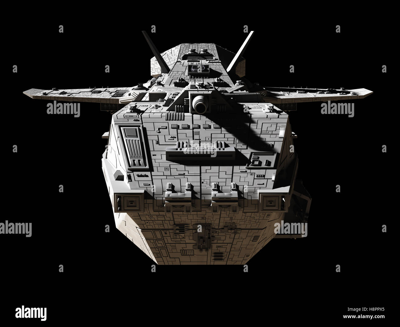 Science Fiction Interplanetary Spaceship - Front View - Stock Image