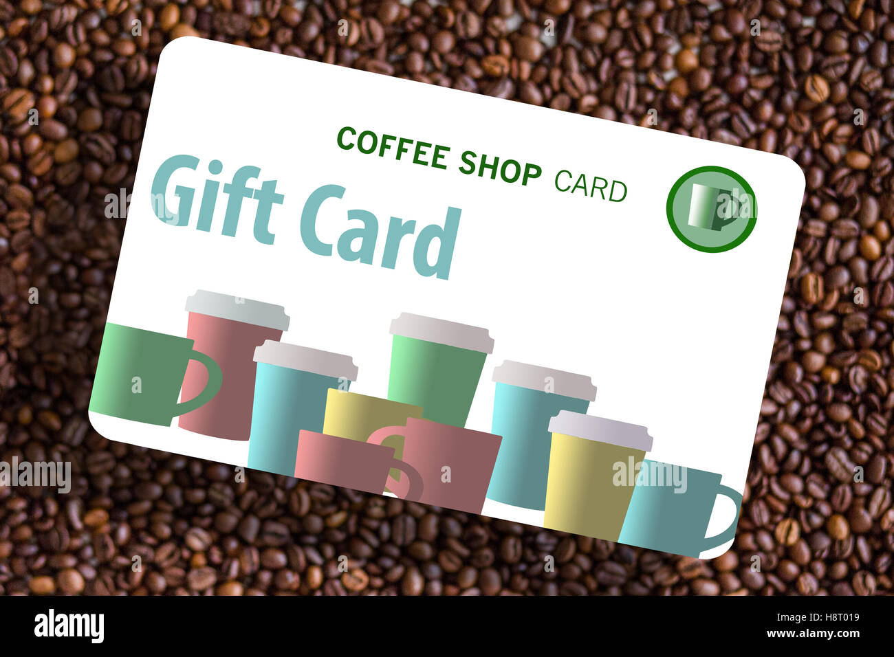 coffee shop gift card generic with a background of coffee beans