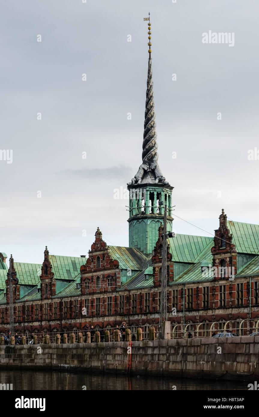 Borsen at Frederiksholm Canal in Copenhagen, Denmark - Stock Image