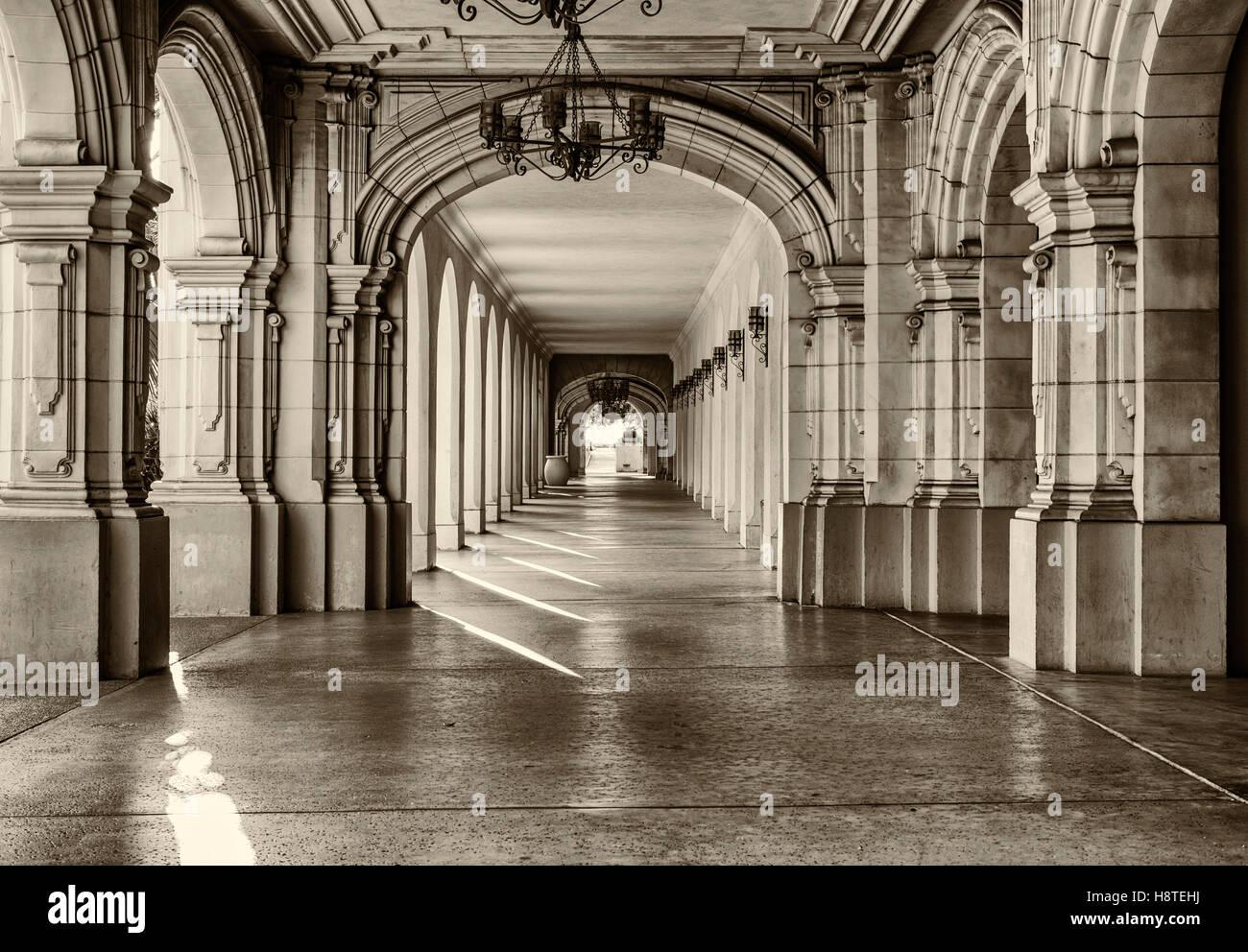 Historic architecture and walkway at Balboa Park. San Diego, California, United States. Stock Photo