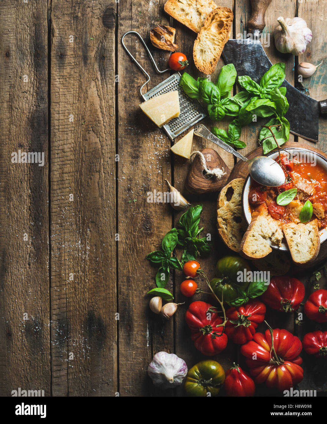 Italian roasted tomato and garlic soup in bowl, copy space - Stock Image