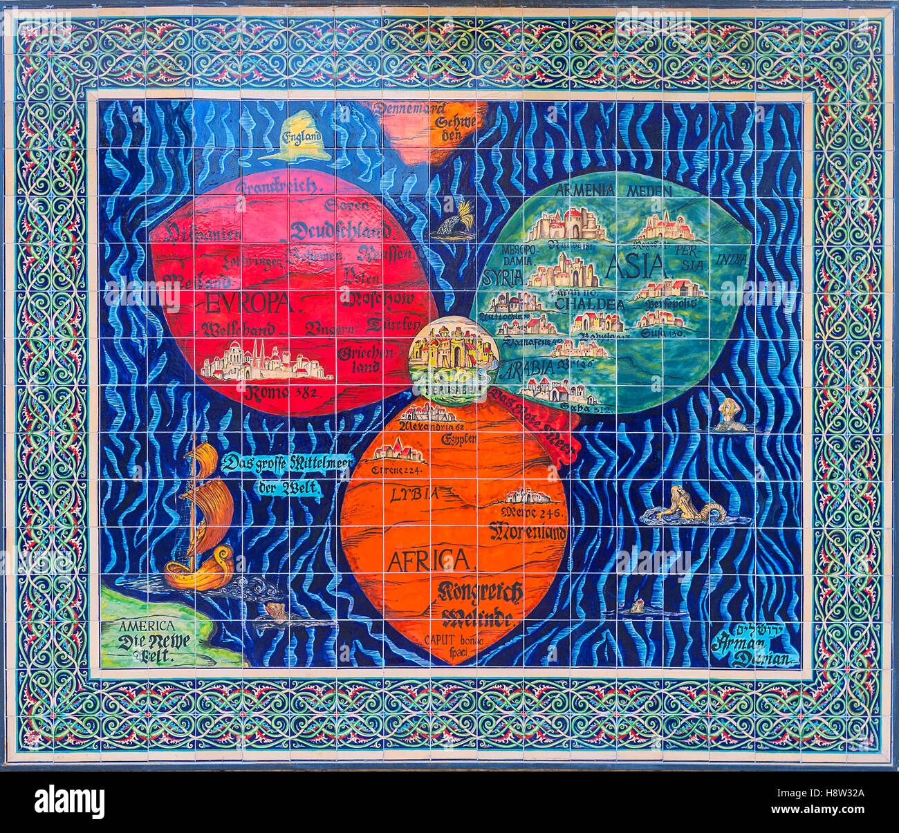 The replica of the medieval clover map by h bunting jerusalem in the replica of the medieval clover map by h bunting jerusalem in center of three leaves continents of the world gumiabroncs Images