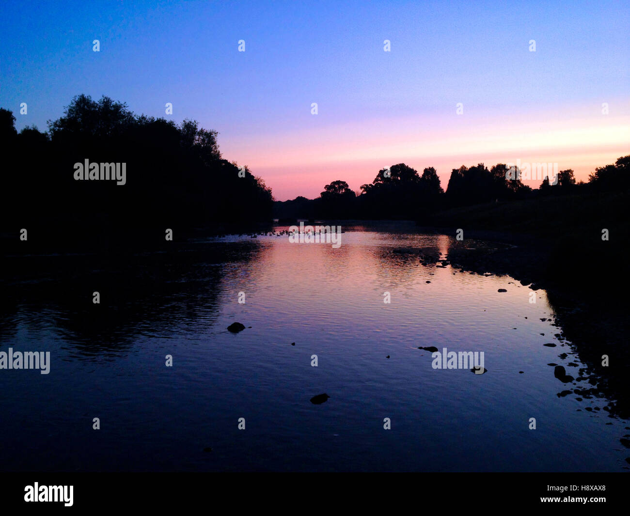 Sunrise over River Wye at Hay on Wye Powys Wales UK - Stock Image