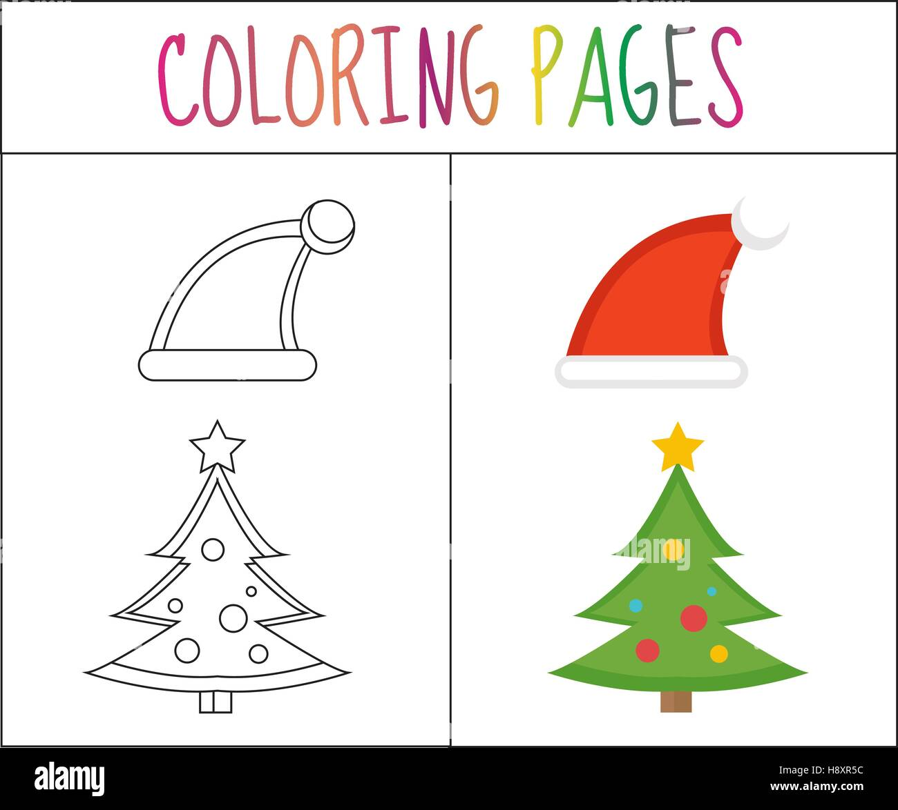 coloring book page christmas santa hats and tree sketch color version for kids vector illustration - Coloring Book Santa