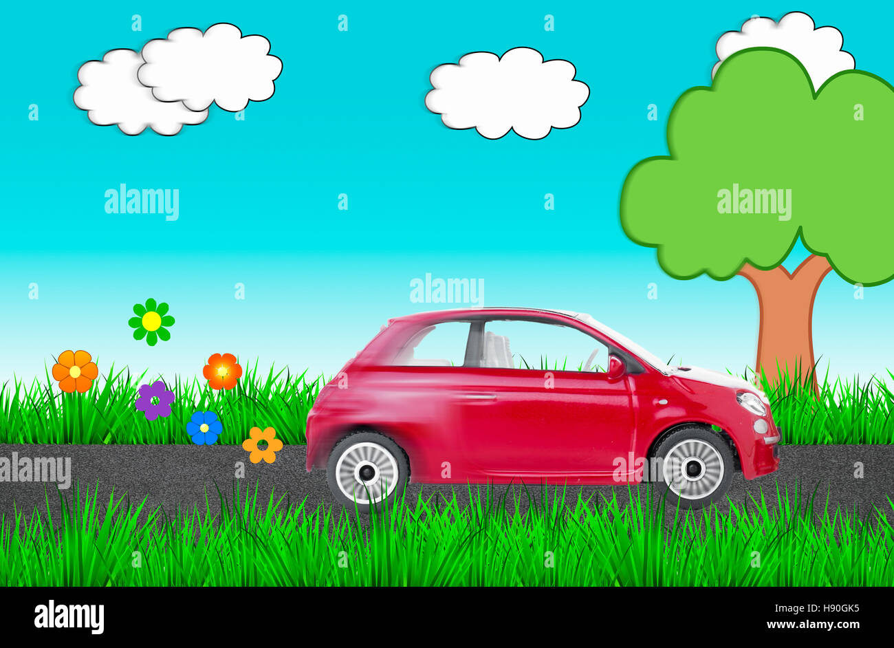 A picture depicting an environmentally friendly vehicle moving in nature. - Stock Image