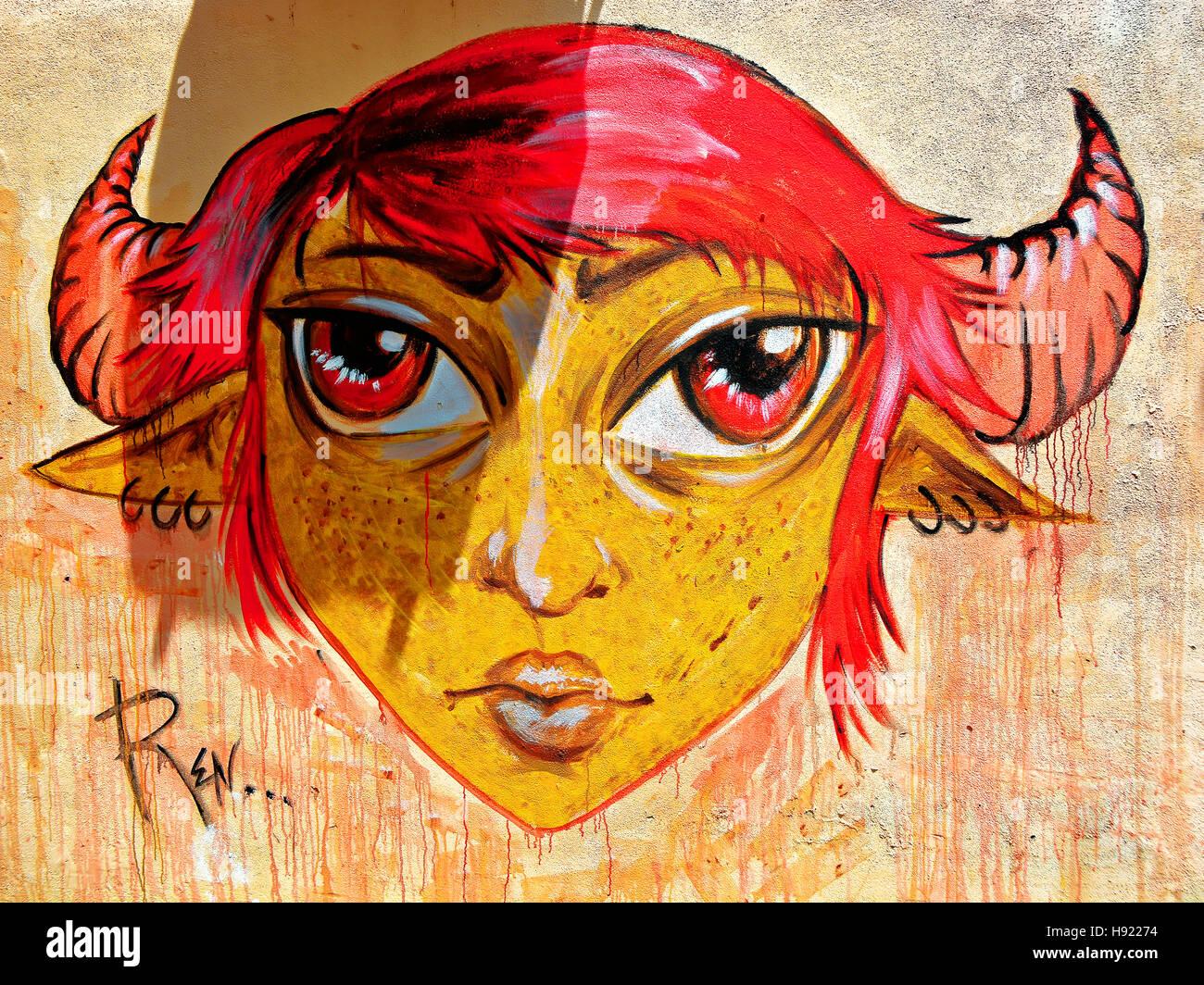 Corfu artistic painted Banksy style wall art Stock Photo: 126050152 ...