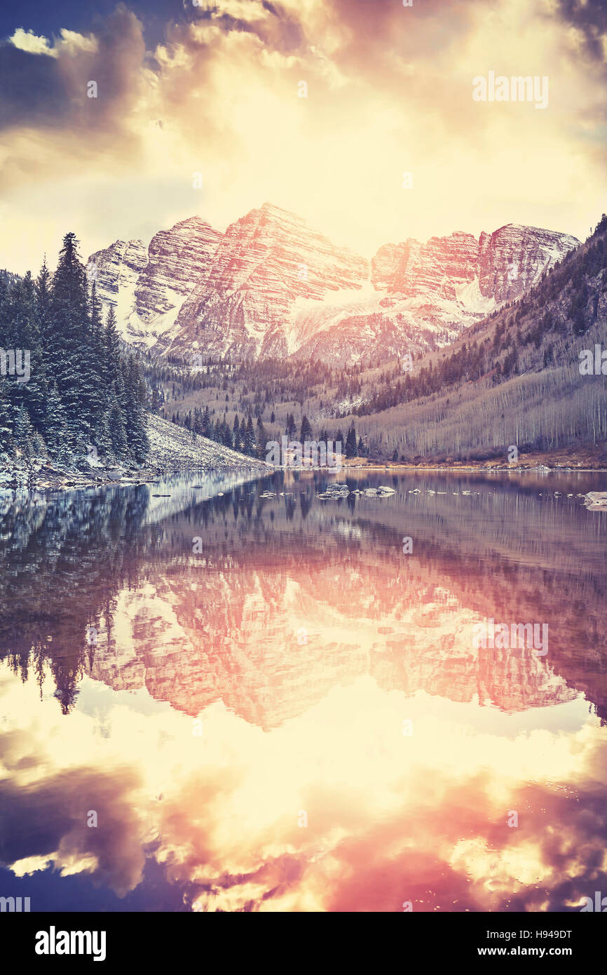 Vintage toned Maroon Bells at sunset, Aspen, Colorado. - Stock Image