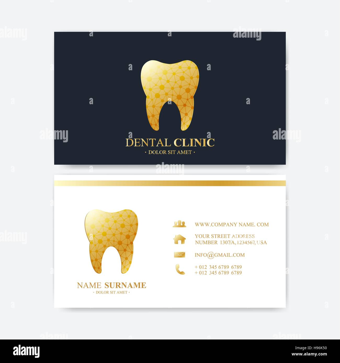 Premium business card print template visiting dental clinic card premium business card print template visiting dental clinic card with tooth logo dentist office oral care dental implants medical design golden to cheaphphosting Gallery