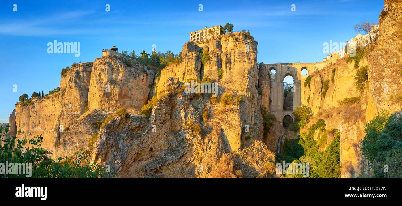 Ronda - El Tajo Gorge Canyon, Puente Nuevo Bridge, Andalusia, Spain - Stock Image
