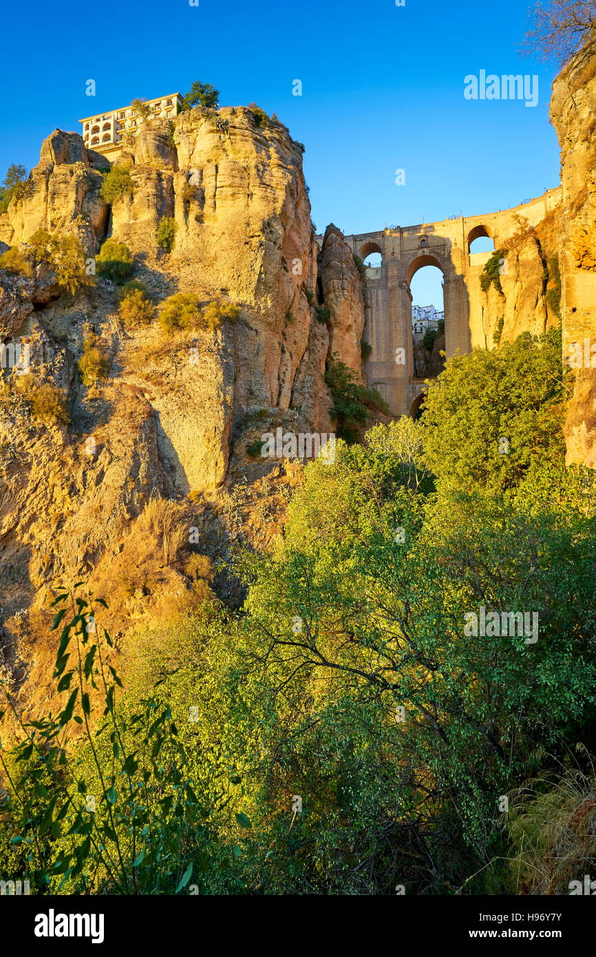 Ronda, El Tajo Gorge Canyon, Puente Nuevo Bridge, Andalusia, Spain - Stock Image