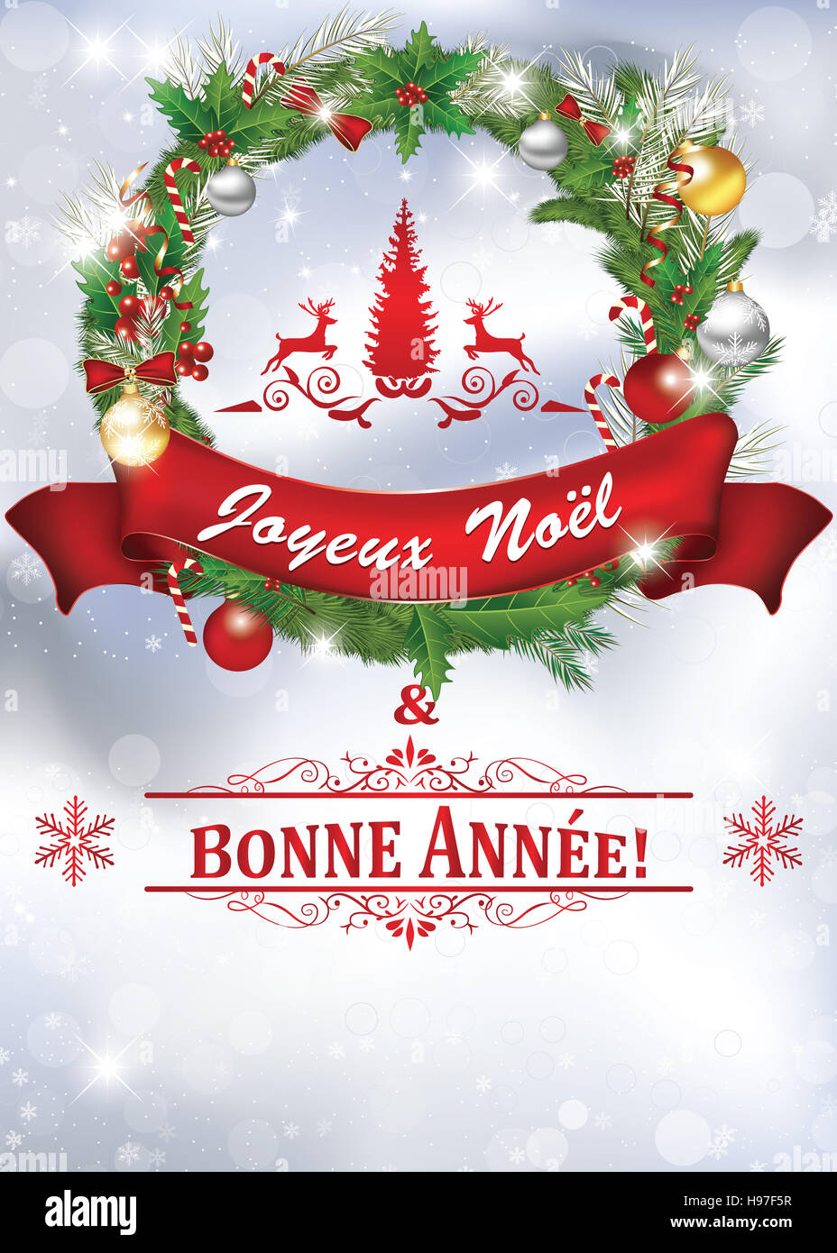 Printable New Year Greeting Card With Message In French Language