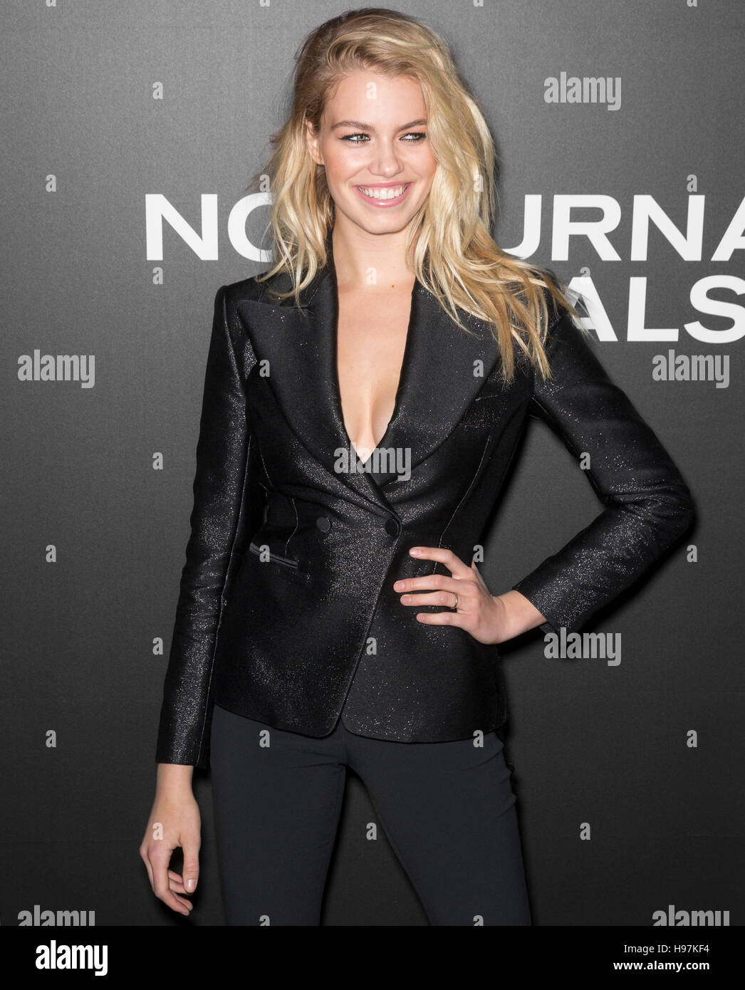 New York City, USA - November 17, 2016: Model Hailey Clauson attends the 'Nocturnal Animals' New York premiere - Stock Image