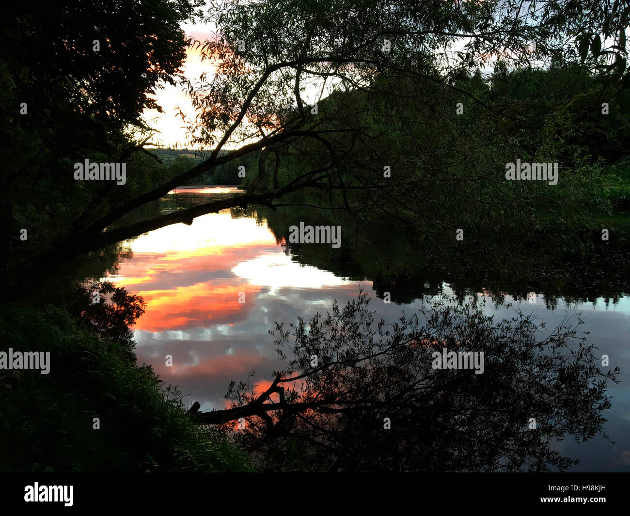 Sunset on the River Wye at The Warren Hay on Wye Powys Wales UK - Stock Image