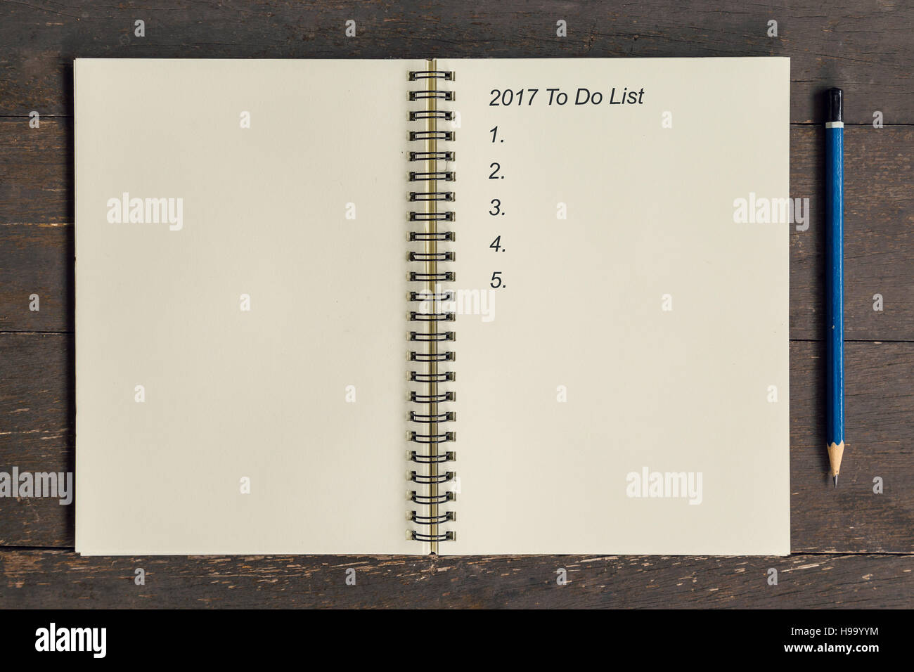 business concept top view notebook writing 2017 to do list stock
