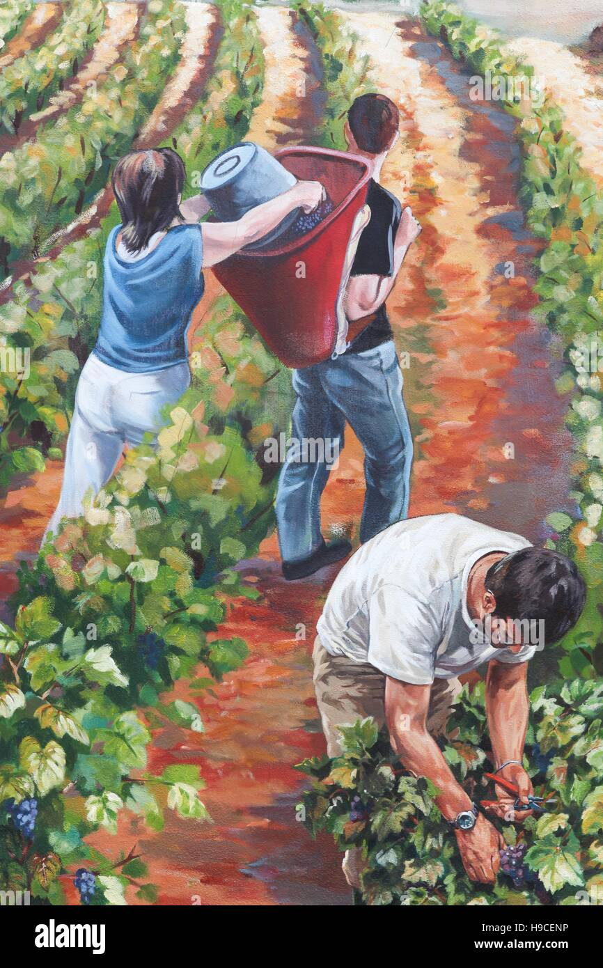 Painted wall illustrating the grape harvest in Beaujolais, France - Stock Image