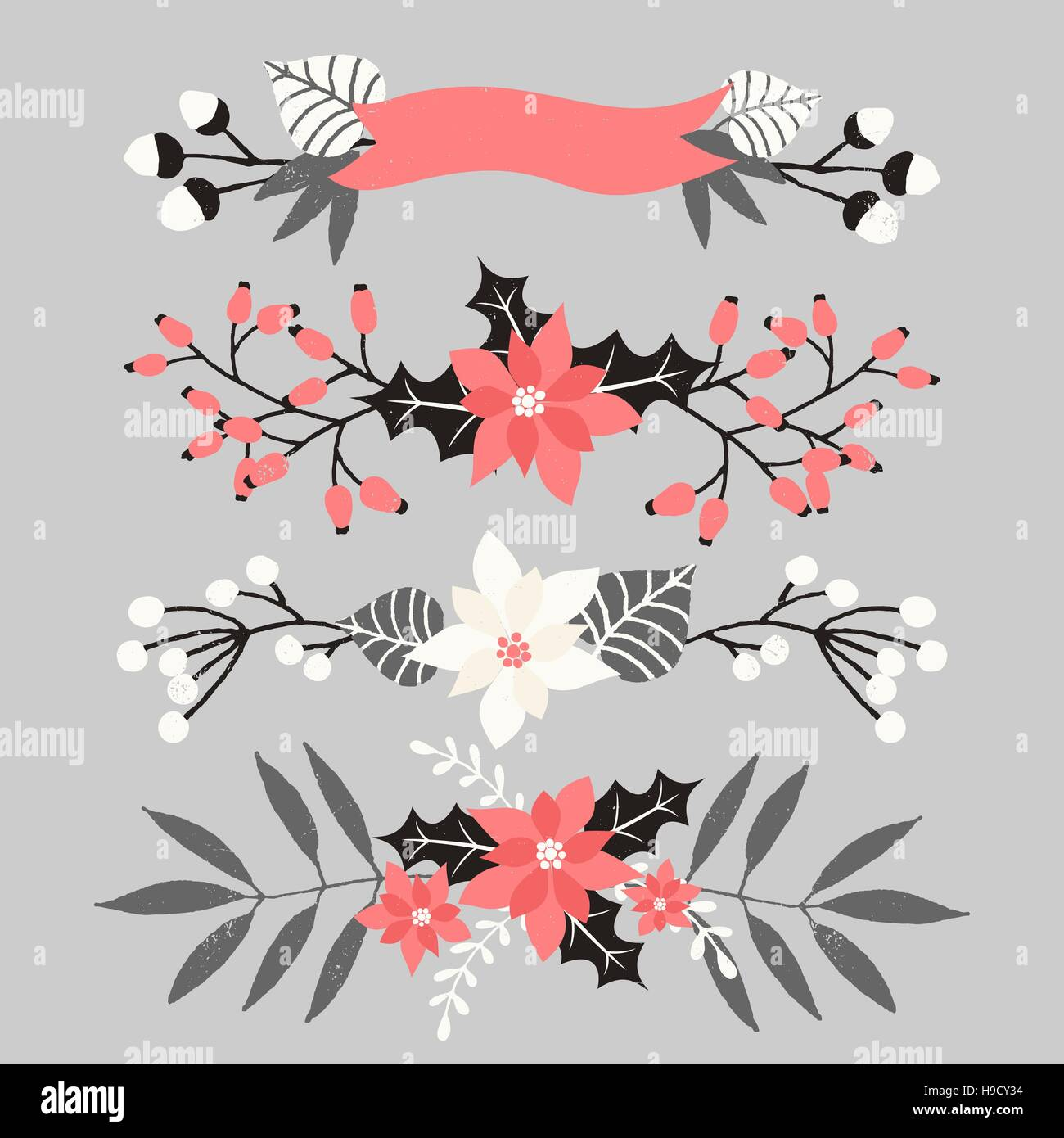 A set of Christmas floral arrangements in white, red, gray and black ...