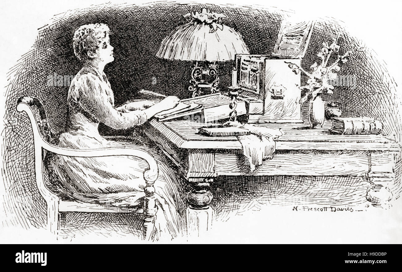 A woman writing a letter at a bureau in the th century stock
