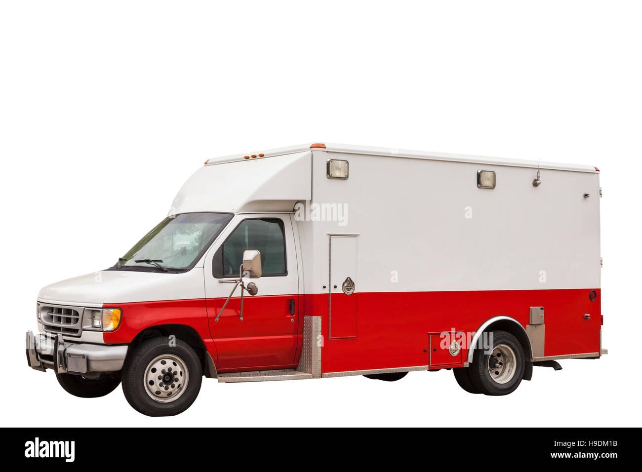 Emergency ambulance van isolated over white background - Stock Image