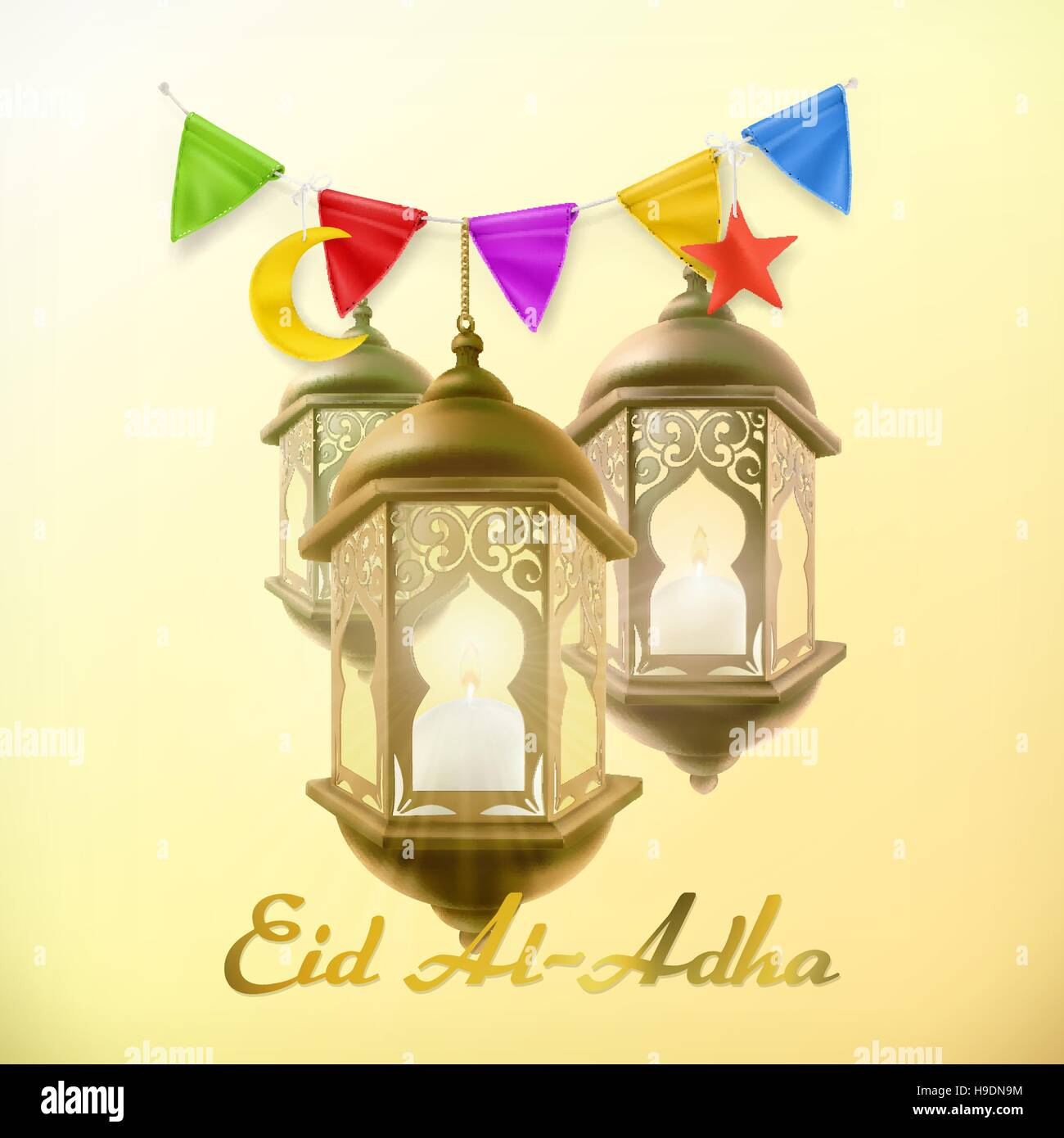 Muslim Holiday Eid Al Adha Greeting Card With Lamp Islamic Culture