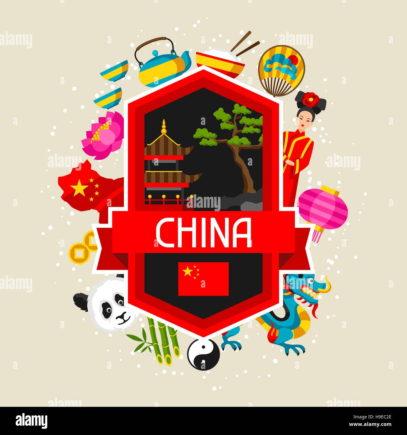China Background Design Chinese Symbols And Objects Stock Vector