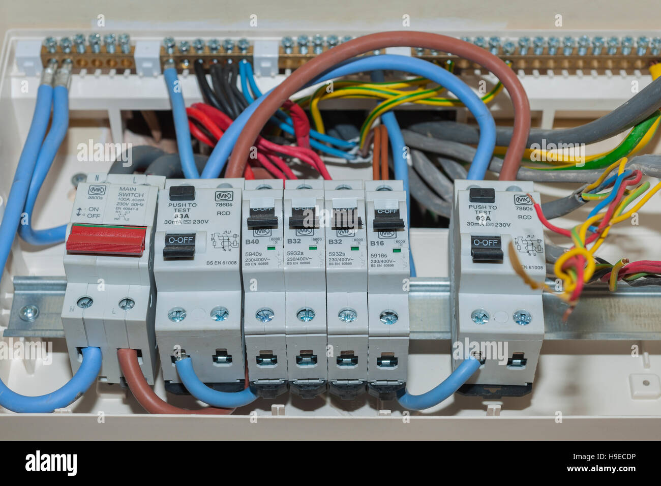 A RCD fuse box in the Uk - Stock Image