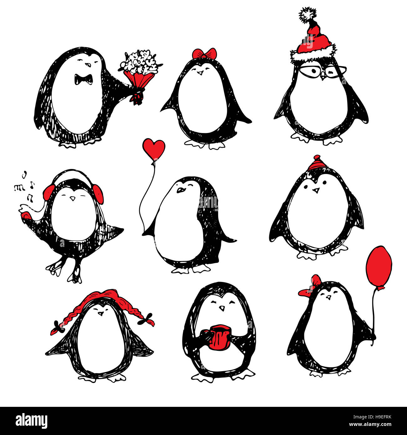cute hand drawn penguins set merry christmas greetings stock photo