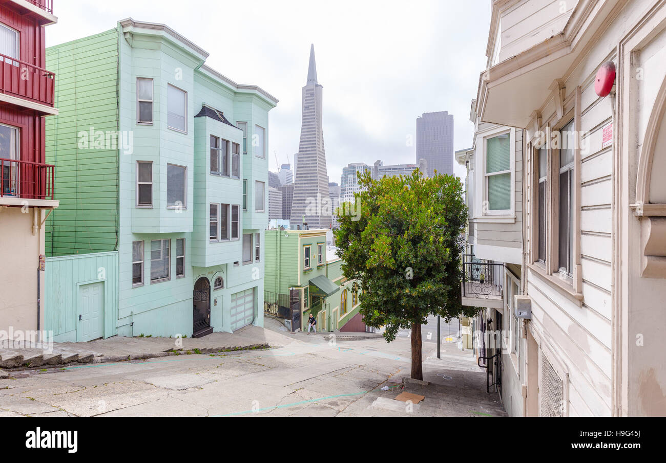 historic colorful buildings in downtown san francisco with the