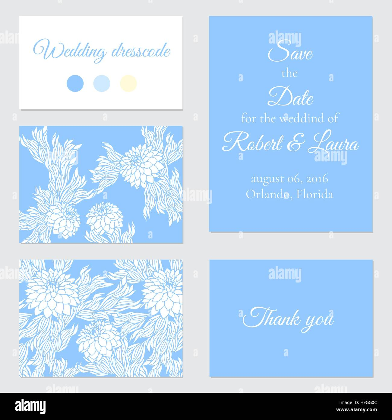 Set Of Vector Greeting Cards For Wedding Save The Date Elegant