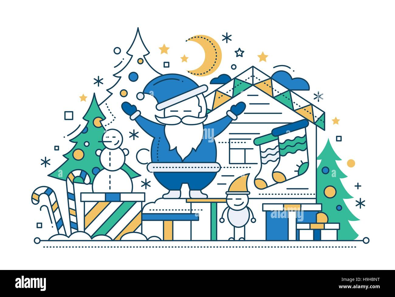 Merry Christmas Line Flat Design Card With Holidays Symbols Santa